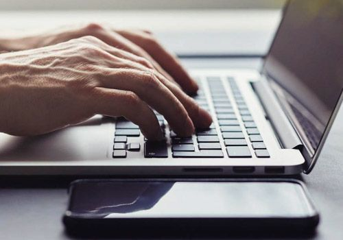 Person applying online to join training course
